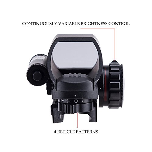 HIRAM Airsoft Gun Sight 4 HIRAM 1x22x33 Holographic Reflex Scope Sight with 4 Reticles Red and Green Dot with Red Laser