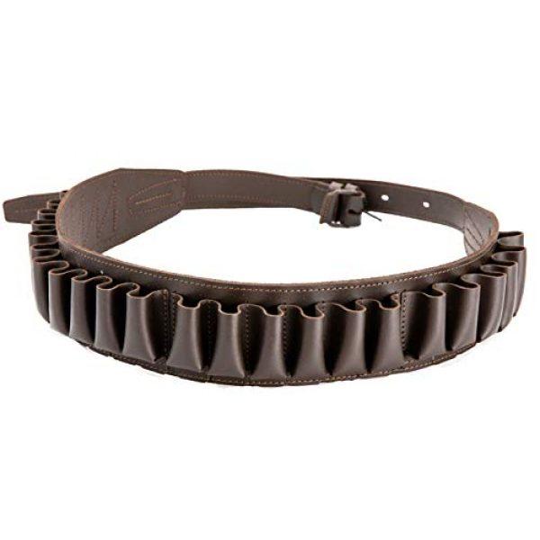 CKG  7 Genuine Leather Shotgun Cartridge Belt 12/16 Gauge - Tactical Shooting Gun Bullet Waist Belt - Ammo Holder Combat Hunting - 24 Shell Holder-Brown Color