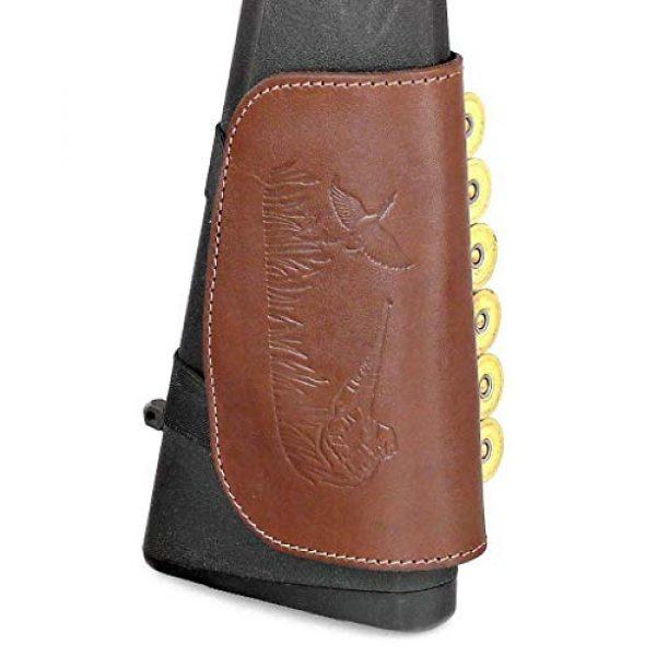 CKG  4 Genuine Leather Buttstock Ammo Holder Shotshell Carrier   Shotgun Shell Cover 6 (20) Gauge   Ammo Pouch Bag Stock Shotgun Shell Holder   Dark Brown
