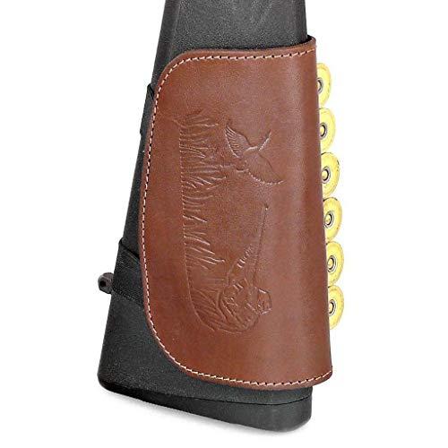 CKG  4 Genuine Leather Buttstock Ammo Holder Shotshell Carrier | Shotgun Shell Cover 6 (20) Gauge | Ammo Pouch Bag Stock Shotgun Shell Holder | Dark Brown