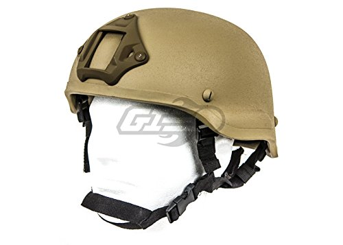 Lancer Tactical Airsoft Helmet 1 Lancer Tactical CA-727 MICH 2002 Safety Airsoft Helmet w/ NVG Mount (Tan)