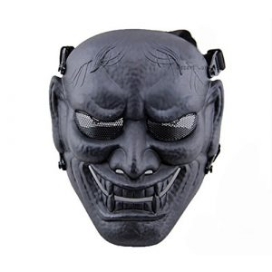 phoenix outdoor Airsoft Mask 1 phoenix outdoor Japanese Samurai Metal Mesh Full Face Protective Airsoft Mask -Permance Goggle-Black-Halloween Mask