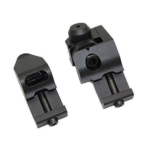 Funpower Airsoft Gun Sight 2 Funpower 45 Degree Offset Front and Rear Backup Iron Picatinny Sight Set