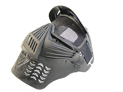 PForce Airsoft Mask 2 PForce Paintball/Airsoft Adjustable Full Face Tactical Safety Mask with Metal Mesh Wire Eye Protection; Protecting Chin/Ears; Top Visor for Shade; Also Good for CS Game