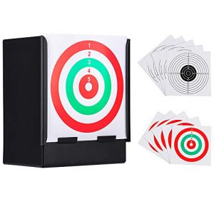 GearOZ Airsoft Target 1 GearOZ Airsoft Pellet Target-Solid Metal Bullet Catcher with 10 PCS Paper Shooting Targets