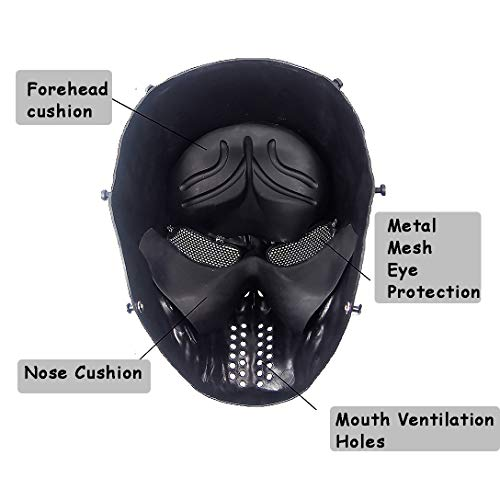 Senmortar Airsoft Mask 4 Senmortar Airsoft Mask Full Face Skull Masks Tactical Eyes Protection Creepy Costume for Paintball Halloween Cosplay Party BBS Gun Shooting Game Captain Wildfire Black Silver Grey Green Skeletons