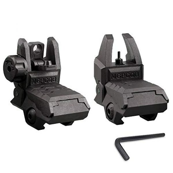 ZLIXING Airsoft Gun Sight 1 ZLIXING Foldable Front and Rear Sights Low Profile Flip up Sights Tactical Pop up Backup Sights for Picatinny Rail