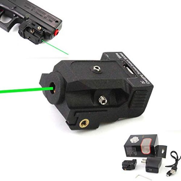 TPO Airsoft Gun Sight 1 TPO GL01 Green Laser Sight Fit Picatinny Rail with Rechargeable Battery for Pistols & Handguns