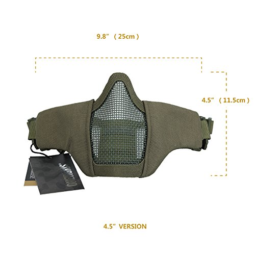 "OneTigris Airsoft Mask 7 OneTigris 4.5"" Tactical Foldable Half Face Mask Protective Mesh Mask Fit Women & Teenagers"