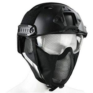 JFFCESTORE Airsoft Helmet 1 JFFCESTORE PJ Type Tactical Multifunctional Fast Helmet and Foldable Adjustable Half Mesh Mask