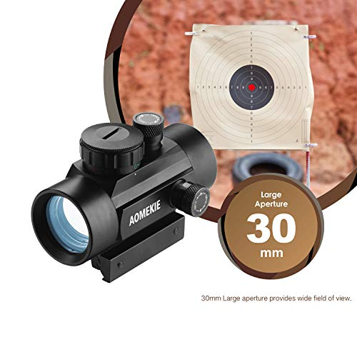 AOMEKIE Airsoft Gun Sight 2 AOMEKIE Airsoft Red Dot Sight Reflex Sight Rifle Scope 30mm Multi-Coated Lens with 22mm/11mm Weaver Picatinny Rail Mount for Hunting Shooting