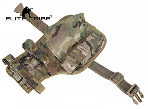 Elite Tribe  3 Elite Tribe MP7 Tactical Leg Holster Shooting Pistol Drop Pouch Multicam Camo Gun Holder Left Right Hand