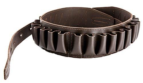 CKG  3 Genuine Leather Shotgun Cartridge Belt 12/16 Gauge - Tactical Shooting Gun Bullet Waist Belt - Ammo Holder Combat Hunting - 24 Shell Holder-Brown Color