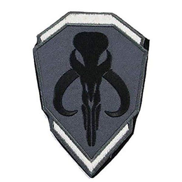 Antrix Airsoft Patch 1 Star War Mandalorian Bantha Skull Bounty The Hunter Boba Fett Jango Fett Mercenary Shield Patch Hook & Loop Tactical Patch Set for Backpacks Caps Hats Vests Jersey Jeans Jacket Pants - Gray