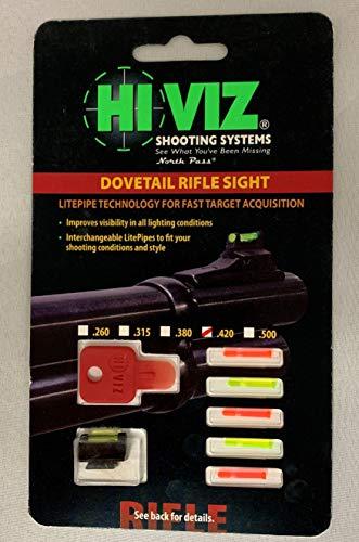 HIVIZ Airsoft Gun Sight 2 HIVIZ 3/8-Inch Dovetail Fiber Optic Rifle/Muzzleloader Sight 0.42 Height