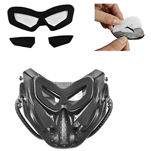JFFCESTORE Airsoft Mask 3 JFFCESTORE Original Creation Tactical Anti-Fog Airsoft Mask with Clear Lens Protective Full Face mask Dual Mode Wearing Design Adjustable Strap for Airsoft Paintball Cosplay Costume Party Hockey