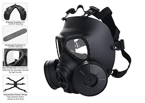 Full Face Eye Protection Skull Dummy Game Mask with Dual Filter Fans Adjustable Strap for BB Gun CS Cosplay