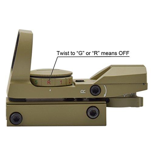 Feyachi Airsoft Gun Sight 2 Feyachi 1x33mm Reflex Sight - Dark Earth Tan Scope Sight Both Red and Green & 4 Reticals for Picatinny/Weaver Rails