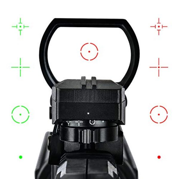 EZshoot Airsoft Gun Sight 4 EZshoot Reflex Sight 4 Reticles Green and Red Dot Sight with 45 Degree Rail Mount
