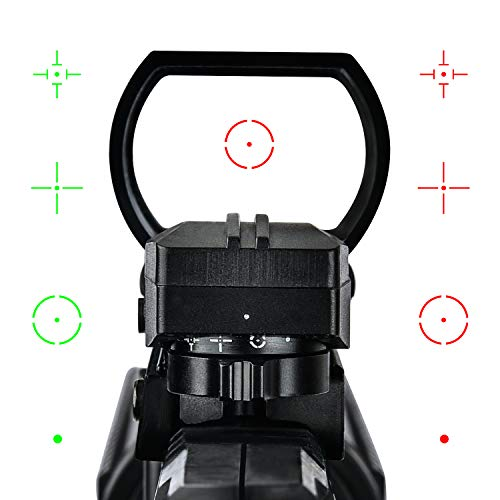 EZshoot Airsoft Gun Sight 4 EZshoot Reflex Sight 4 Reticles Green and Red Dot Sight with 45 Degree Rail Mount