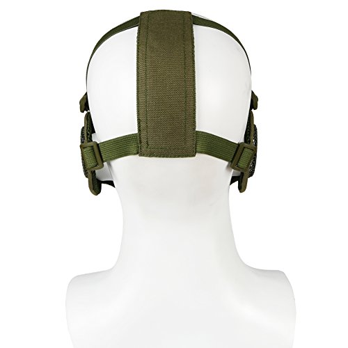 Half Face Mesh Masks with Ear Protection and Tactical Goggles Set for CS/Hunting/Paintball/Shooting