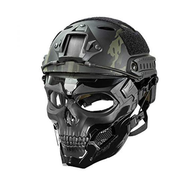 Black Orca Airsoft Mask 6 Black Orca Skull Full-Face Mask for Airsoft Helmet
