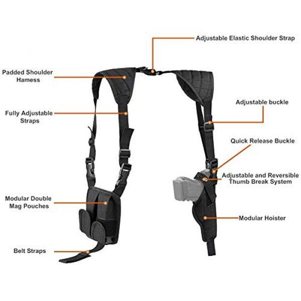 TW TWOD  2 Twod Concealed Carry Shoulder Holster Nylon Cross Harness Vertical Shoulder Holster Adjustable for Most Handguns or Pistol