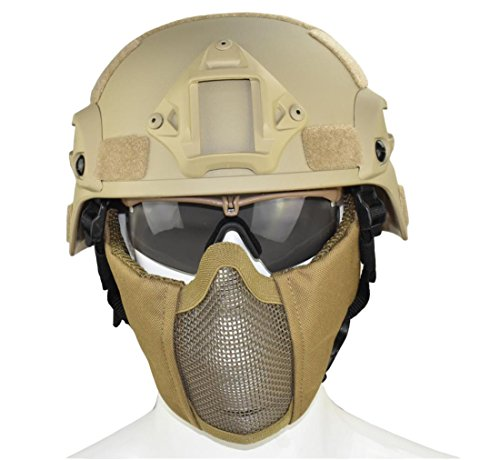 Jadedragon Airsoft Helmet 2 Jadedragon MICH 2000 Style ACH Tactical Helmet with Protect Ear Foldable Double Straps Half Face Mesh Mask & Goggle