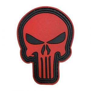 Morton Home Airsoft Patch 1 Morton Home 3D PVC Punisher Skull Army Morale MILSPEC Airsoft Tactical Patch (red)