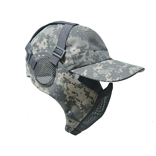 NO B Airsoft Mask 1 NO B Tactical Foldable Mesh Mask with Ear Protection for Airsoft Paintball with Adjustable Baseball Cap