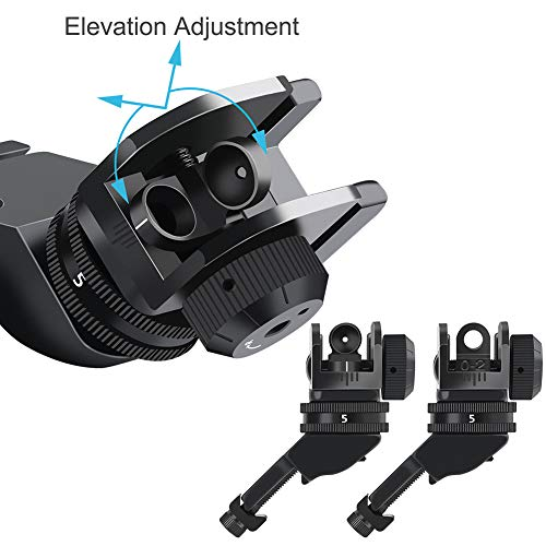 Feyachi Airsoft Gun Sight 6 Feyachi 45 Degree Front and Rear Backup Iron Sights - Rapid Transition Picatinny Rail Mounted