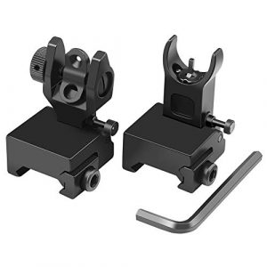 Feyachi Gold Airsoft Gun Sight 1 Feyachi Flip Up Iron Sight Front Rear Sight Compatible for Picatinny Rail and Weaver Rail of Rifle
