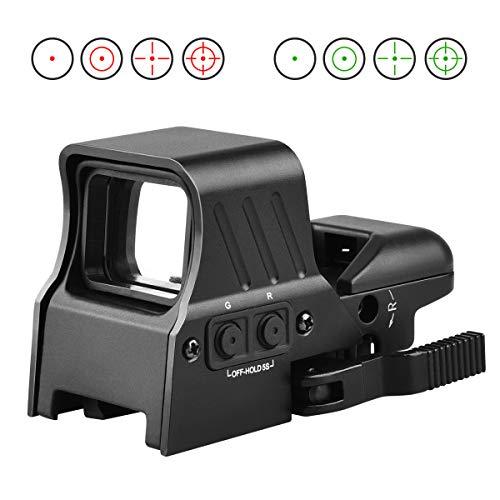 MidTen Airsoft Gun Sight 1 MidTen 1X22X32 Red Green Dot Sight 4 Reticles Reflex Sight Quick Detach Mount 20mm Rail
