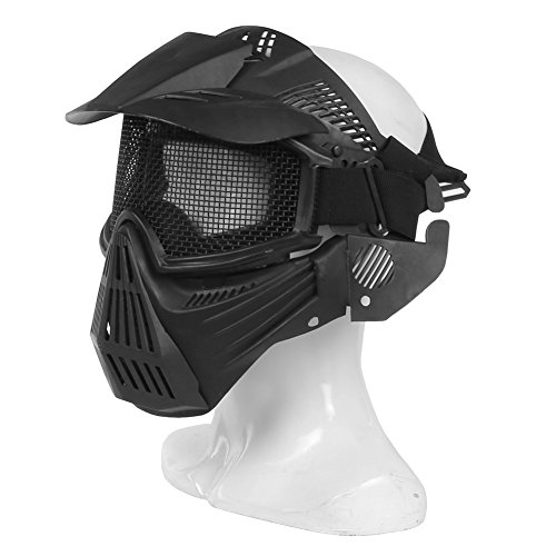 A&N Airsoft Airsoft Mask 5 WoSporT Tactical Transformers Leader Mask Steel Mesh Breathable Full Face Safety CS Field Airsoft Wargame Paintball Army Masks - Black