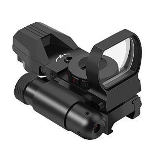 Feyachi Airsoft Gun Sight 1 Feyachi RSL-18 Reflex Sight - 4 Reticle Red & Green Dot Sight Optics with Integrated Red La-ser Sight Less Than 5mW Output