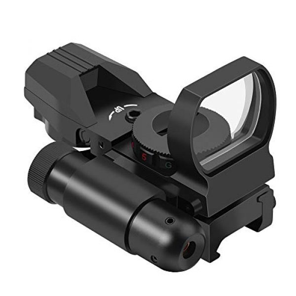 Feyachi Airsoft Gun Sight 1 Feyachi RSL-18 Reflex Sight - 4 Reticle Red & Green Dot Sight Optics with Integrated Red La-ser Sight Less Than 5mW Output