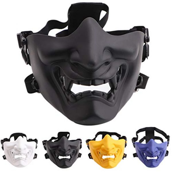 Fansport Airsoft Mask 5 Fansport Airsoft Mask Protective Fashion Half Face Mask Outdoor Game Mask Tactical Prajna Half Face Hannya Oni Motorcycle Evil Demon Knight for Halloween Cosplay