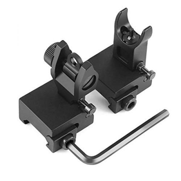 OTW Airsoft Gun Sight 5 OTW Flip Up Iron Sights Flip Up Front Sight + Back Up Rear Sight Mounts Set for Gun Rifle Handgun Airsoft