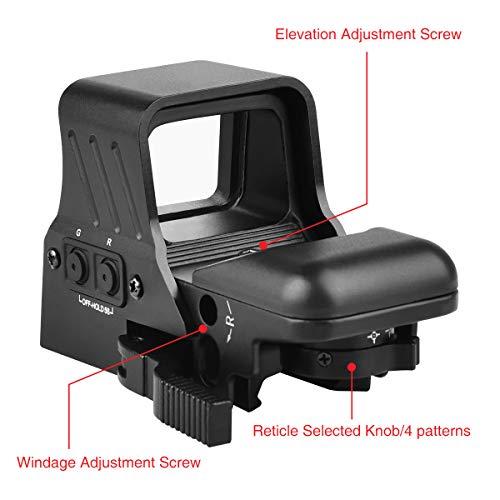 MidTen Airsoft Gun Sight 4 MidTen 1X22X32 Red Green Dot Sight 4 Reticles Reflex Sight Quick Detach Mount 20mm Rail