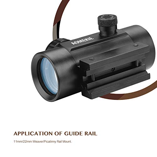 AOMEKIE Airsoft Gun Sight 3 AOMEKIE Airsoft Red Dot Sight Reflex Sight Rifle Scope 30mm Multi-Coated Lens with 22mm/11mm Weaver Picatinny Rail Mount for Hunting Shooting