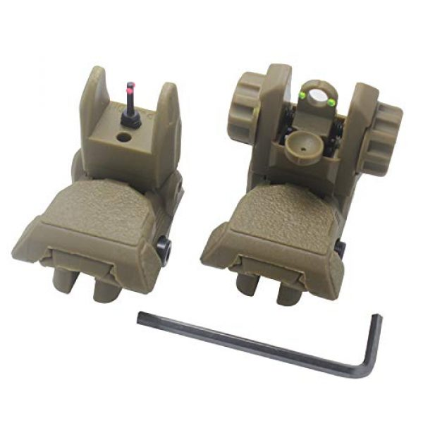 AWOTAC Airsoft Gun Sight 1 AWOTAC Polymer Fiber Optics Iron Sights Flip-up Front and Rear Sights with Red and Green Dots Fit Picatinny Weaver Rails
