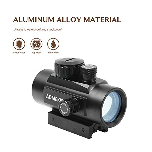 AOMEKIE Airsoft Gun Sight 5 AOMEKIE Airsoft Red Dot Sight Reflex Sight Rifle Scope 30mm Multi-Coated Lens with 22mm/11mm Weaver Picatinny Rail Mount for Hunting Shooting