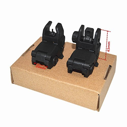 HWZ Airsoft Gun Sight 7 HWZ Tactical Folding Front & Rear Set Flip Up Backup Sights BUIS Black