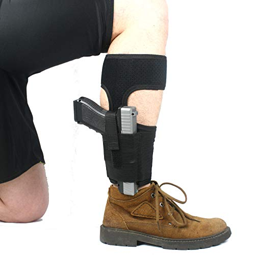 ProudCarry  1 ProudCarry Ultimate Ankle Calf Holster with Calf Strap and Spare Magazine Pouch for Concealed Carry Black