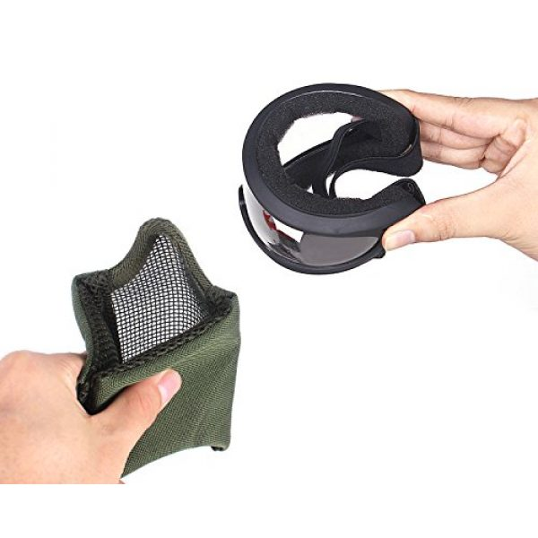 Unigear Airsoft Mask 4 Unigear Half Face Lower Mask Foldable Mesh Adjustable Tactical Metal Steel Mask for Airsoft/Hunting/Paintball/Shooting