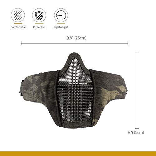 "OneTigris Airsoft Mask 2 OneTigris 6"" Foldable Half Face Mesh Mask Military Style Comfortable Adjustable Tactical Lower Face Protective Mask"