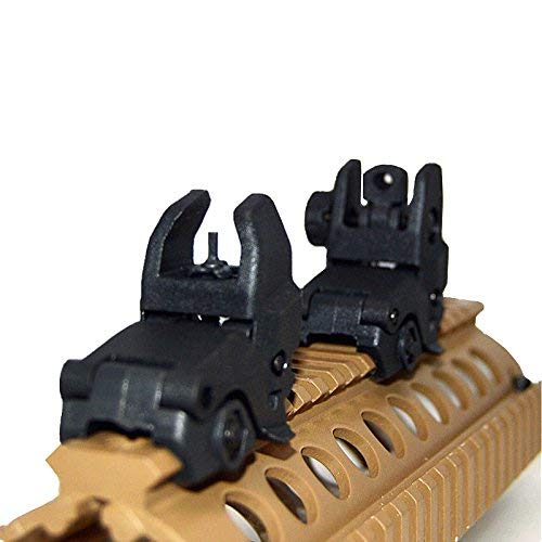 HWZ Airsoft Gun Sight 2 HWZ Tactical Folding Front & Rear Set Flip Up Backup Sights BUIS Black