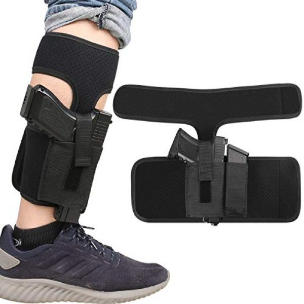 XAegis  1 XAegis Ankle Holster with Calf Strap and Spare Magazine Pouch Comfortable Conceal Carry Holster for Small or Medium Gun Frame with Length Less 7 inches