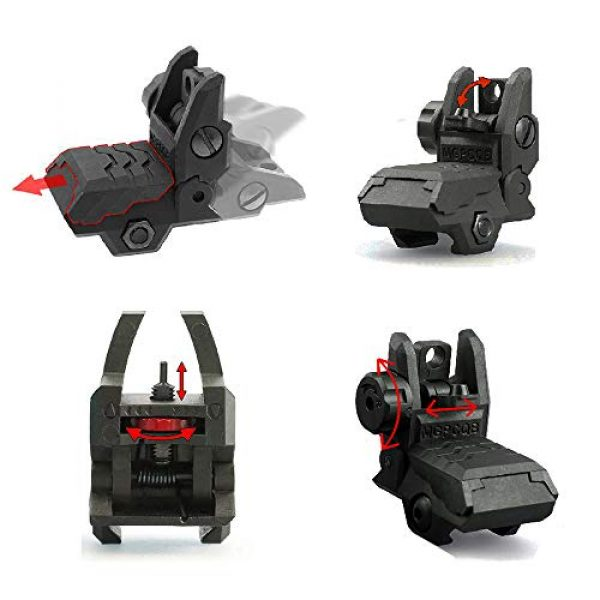 ZLIXING Airsoft Gun Sight 4 ZLIXING Foldable Front and Rear Sights Low Profile Flip up Sights Tactical Pop up Backup Sights for Picatinny Rail