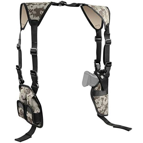 Feyachi  1 Feyachi Universal Shoulder Holster with Dual Mag Pouch Camo Ambidextrous Gun Shoulder Fits Most Pistols & Revolvers for Men and Women